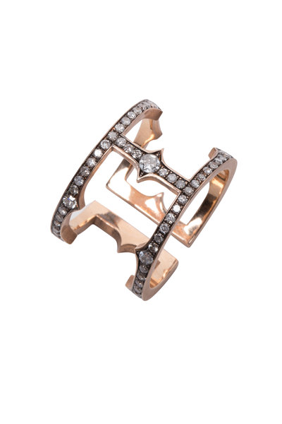 Sylva & Cie - 14K Rose Gold Diamond Cage Ring
