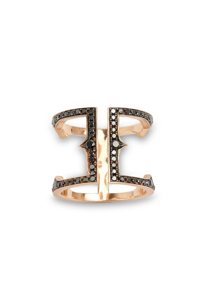 Rose Gold Black Diamond Cage Ring