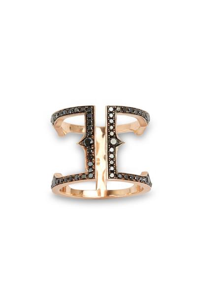 Sylva & Cie - Rose Gold Black Diamond Cage Ring