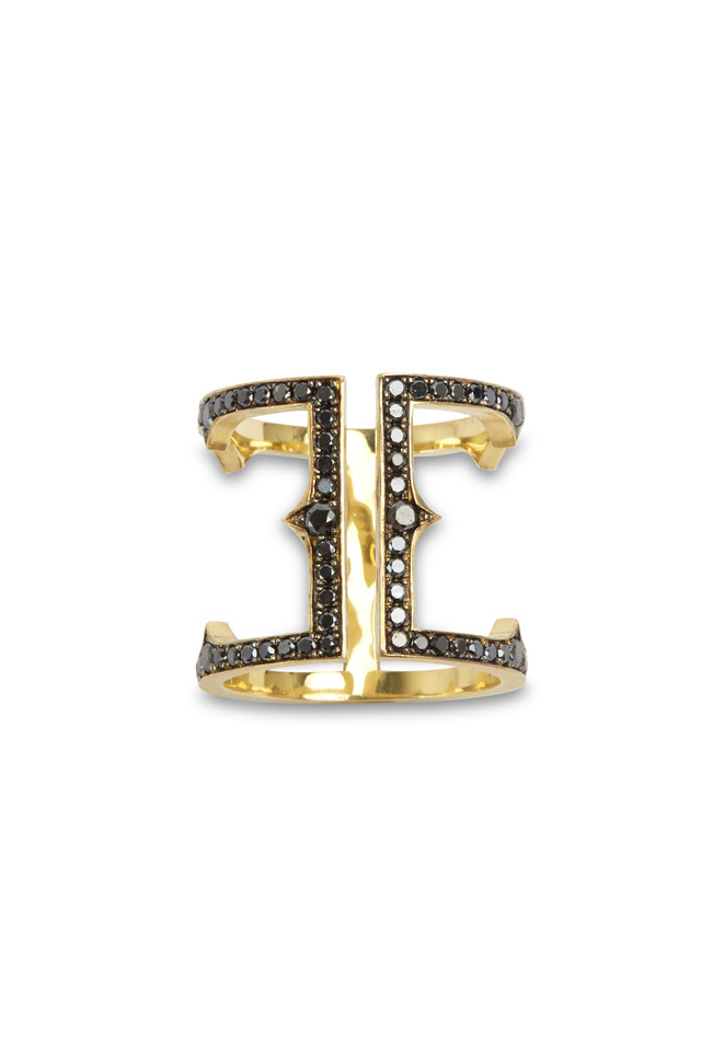 18K Yellow Gold Black Diamond Cage Ring