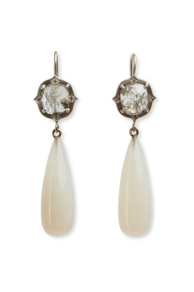 Sylva & Cie - White Gold Chalcedony Diamond Earrings