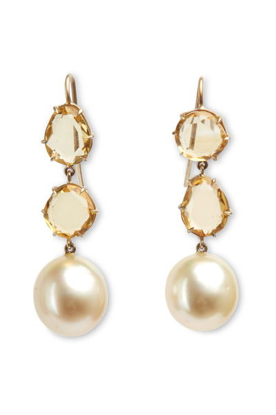Sylva & Cie - White Gold Pearl & Citrine Drop Earrings