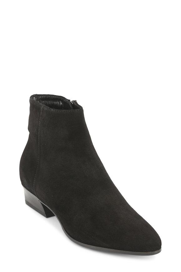Aquatalia Fire Black Suede Ankle Boot, 40mm