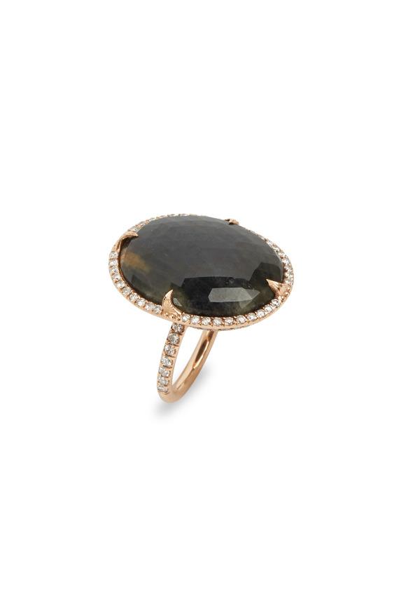 Sylva & Cie Rose Gold Oval Sapphire Diamond Ring