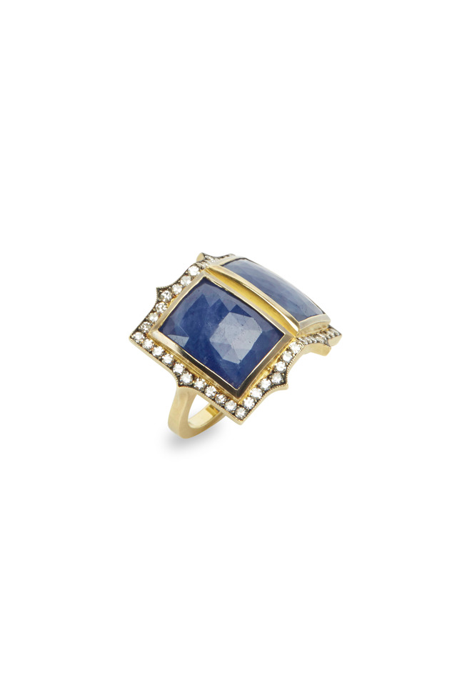 Yellow Gold Double Sapphire Diamond Ring