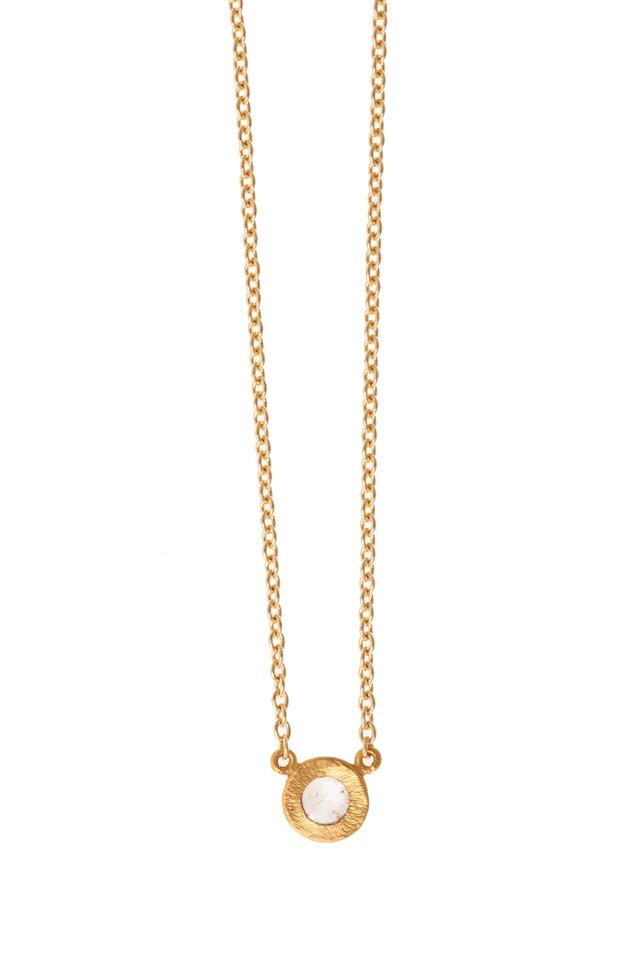 Yellow Gold Rose-Cut Mica Mint Diamond Necklace