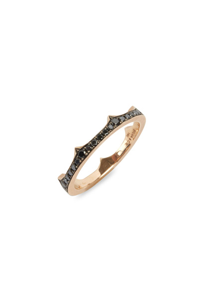 Sylva & Cie - 14K Rose Gold Black Diamond Crown Band