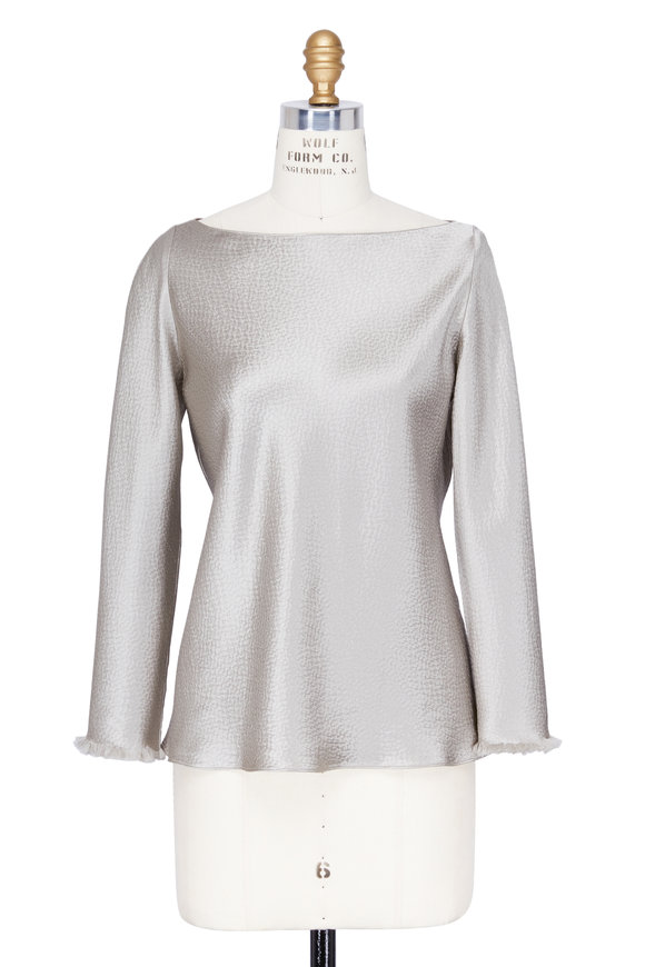Peter Cohen Silver Hammered Silk Frayed Detail Blouse