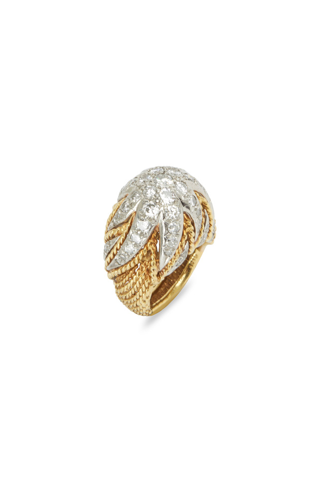 Yellow Gold Diamond Cluster Dome Ring