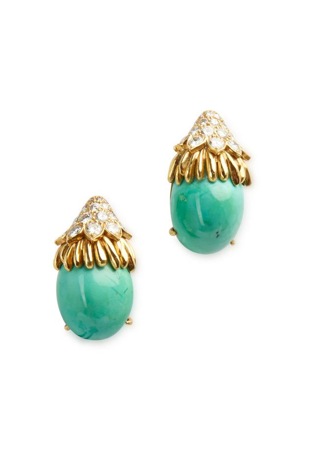 Yellow Gold Turquoise & Diamond Drop Earrings