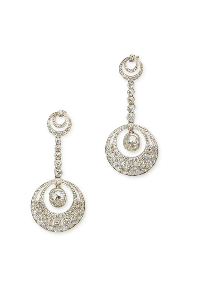 Fred Leighton - Platinum Diamond Pendant Earrings