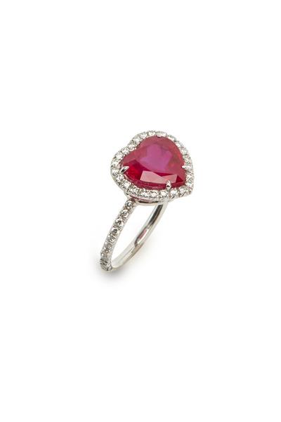 Fred Leighton - Heartshape Ruby & White Diamond Ring