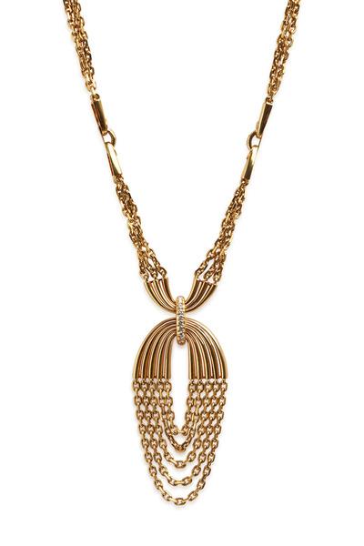 Fred Leighton - Yellow Gold White Diamond Chain Pedant Necklace