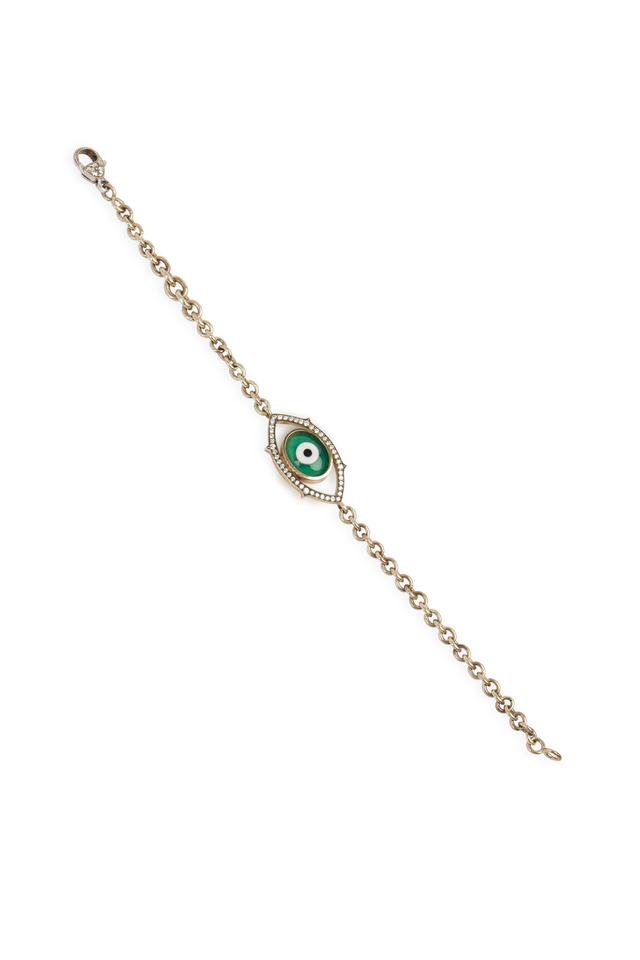 White Gold Green Agate Evil Eye Diamond Bracelet