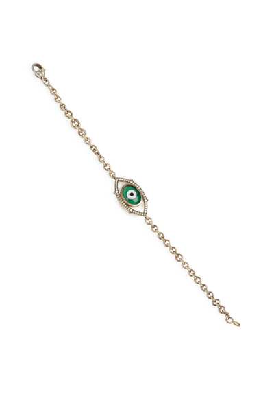 Sylva & Cie - White Gold Green Agate Evil Eye Diamond Bracelet
