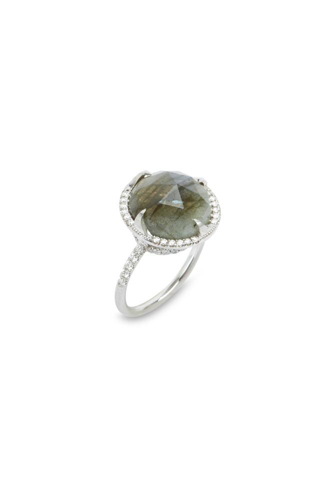 White Gold Faceted Labradorite Diamond Ring