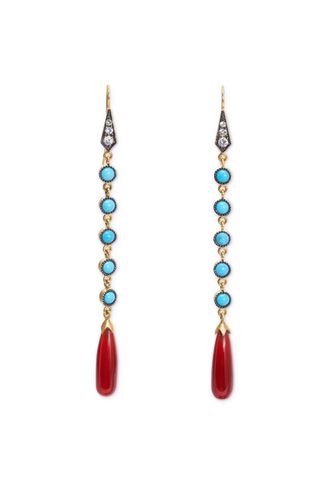Gold Turquoise Carnelian Diamond Drop Earrings