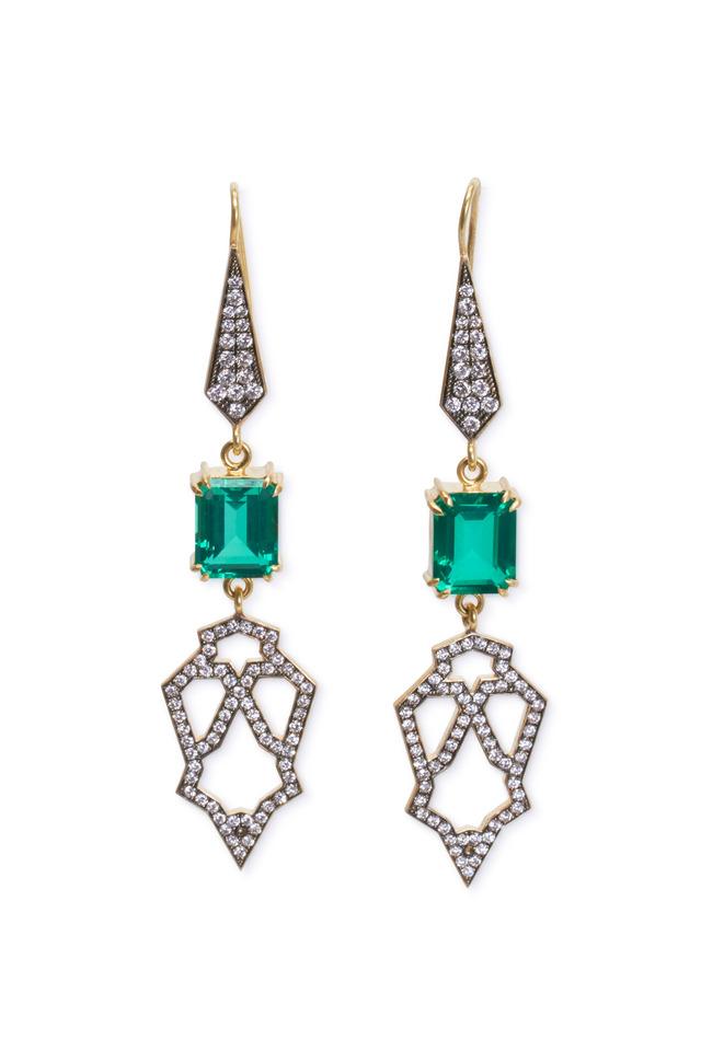 Yellow Gold Beryl Doublet Diamond Dangle Earrings