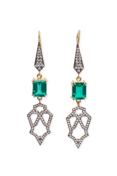 Sylva & Cie - Yellow Gold Beryl Doublet Diamond Dangle Earrings