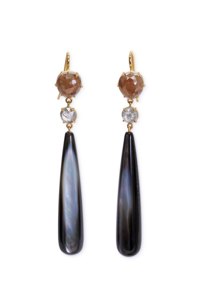 Sylva & Cie - Yellow Gold Mother Of Pearl Diamond Drop Earrings