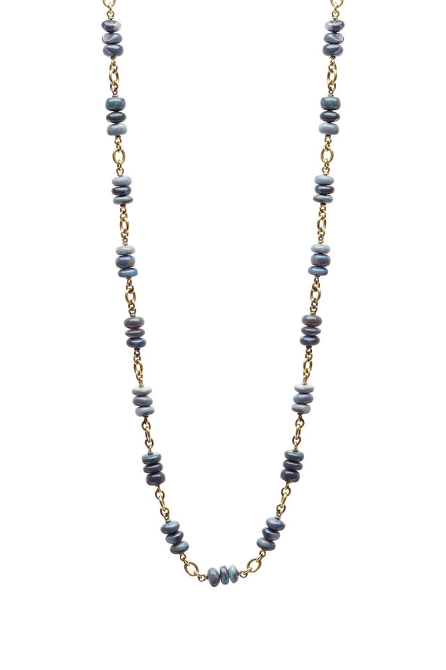 Yellow Gold Black & Blue Opal Necklace