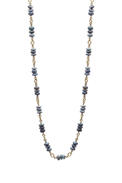 Sylva & Cie - Yellow Gold Black & Blue Opal Necklace