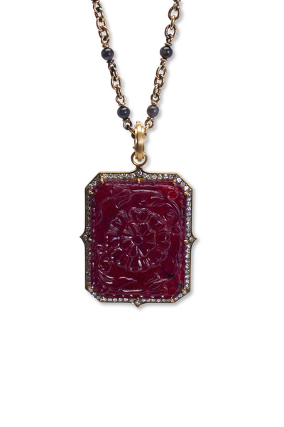Sylva & Cie - Yellow Gold Hand Carved Ruby Diamond Pendant