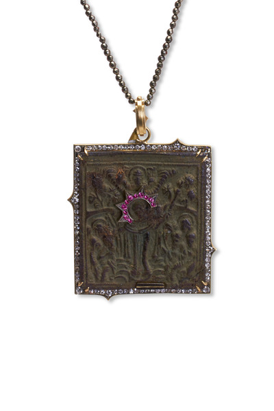Sylva & Cie - Yellow Gold Russian Icon Diamond Pendant