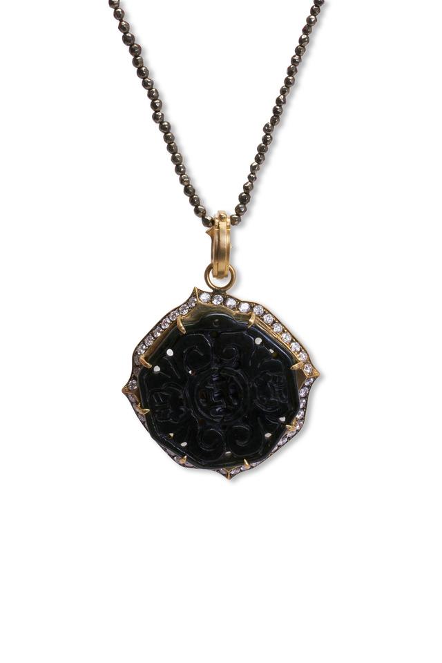 18K Gold Hand Carved Black Jade & Diamond Pendant