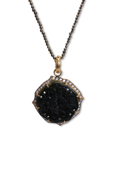 Sylva & Cie - 18K Gold Hand Carved Black Jade & Diamond Pendant