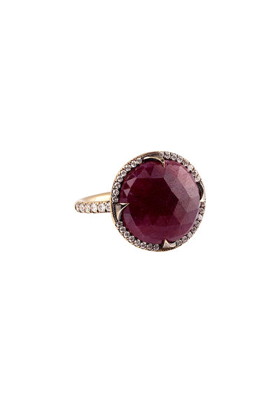 Sylva & Cie - 18K Yellow Gold Faceted Ruby Diamond Ring