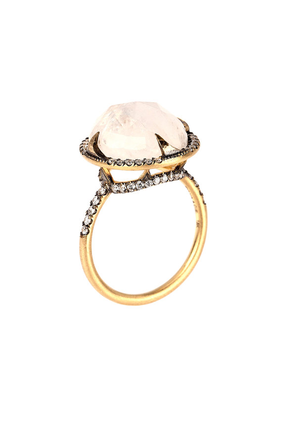 Sylva & Cie Yellow Gold Moonstone Diamond Ring