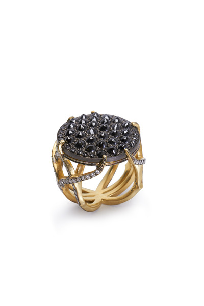 Sylva & Cie - Gold & Silver Black & White Diamond Web Ring
