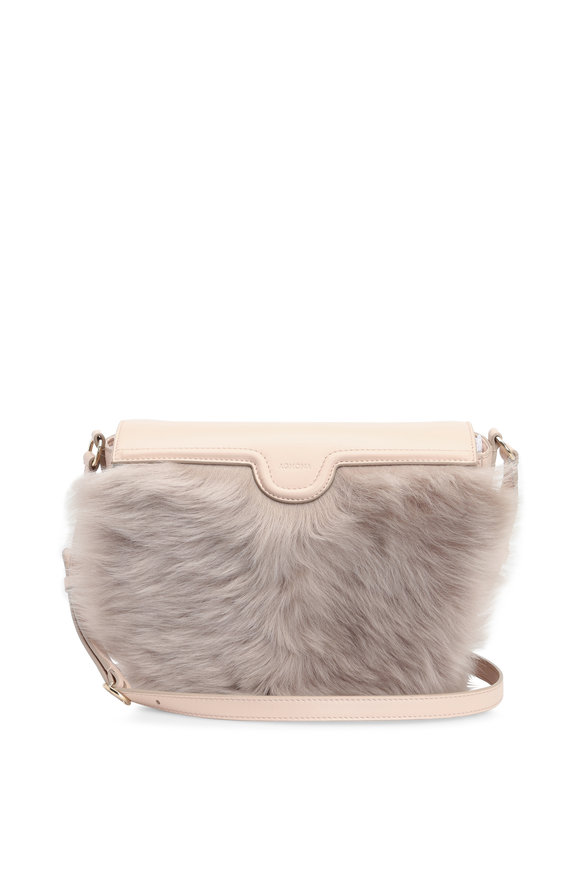 Agnona Nude Leather Mixed Fur Crossbody