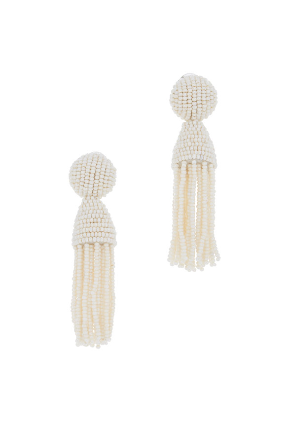 Oscar de la Renta Ivory Beaded Classic Short Tassel Clip-On Earrings