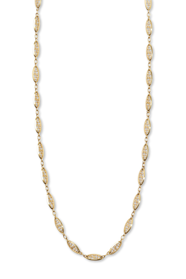 Antique Yellow Gold Filigree Link Chain Necklace