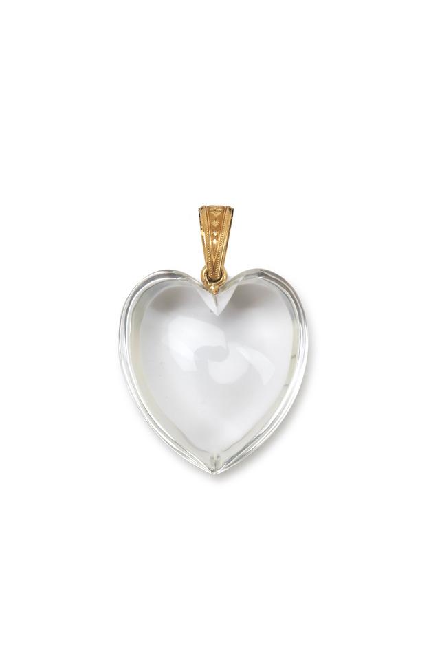 Yellow Gold Rock Crystal Heart Pendant