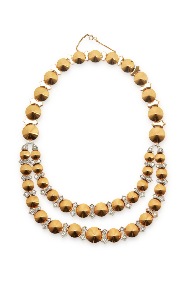 Rose Gold Diamond Disc Link Motif Necklace
