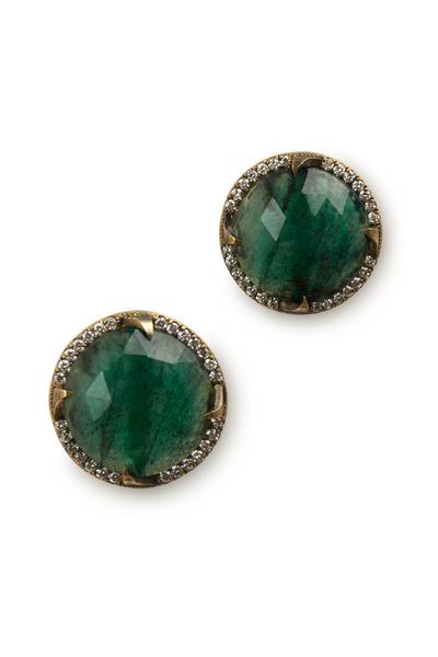 Sylva & Cie - Yellow Gold Emerald Diamond Earrings