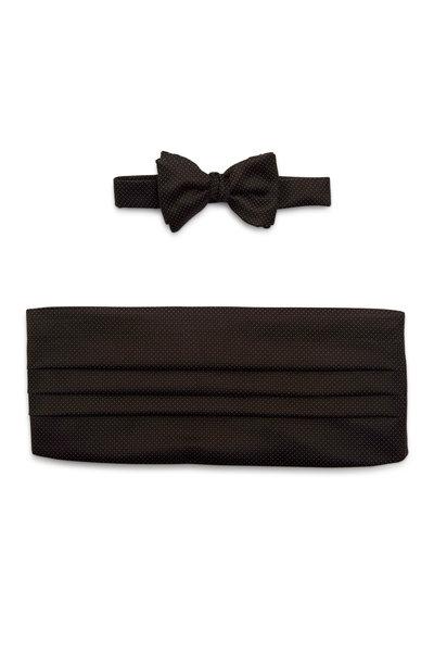 Carrot & Gibbs - Black & White Dot Silk Cummerbund Set