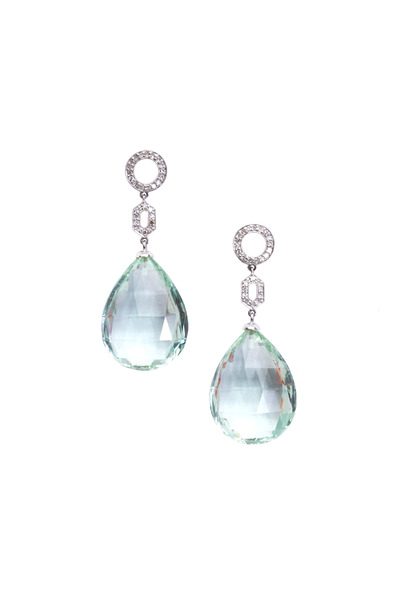 Frank Ancona - Aquamarine Briolette Diamond Earrings