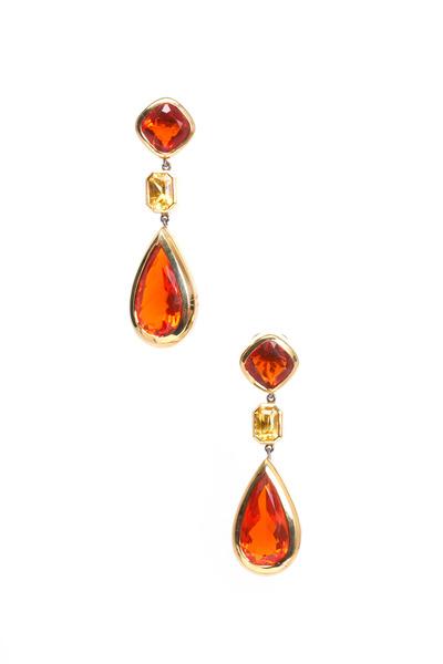 Frank Ancona - 18K Yellow Gold Orange Opal Drop Earrings