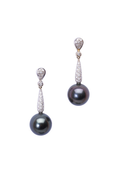 Frank Ancona - White Gold Black South Sea Pearl Diamond Earrings