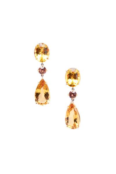 Frank Ancona - Yellow Gold Zircon & Gold Beryl Drop Earrings