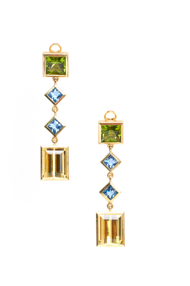 Gold Peridot, Aqua & Gold Beryl Drop Earrings