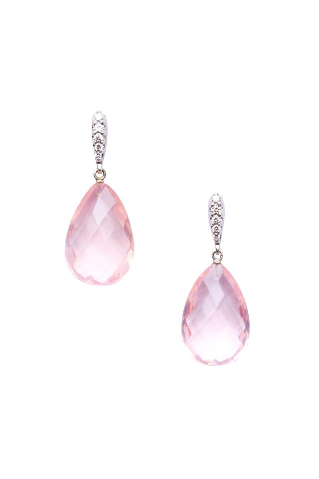 Gold Rose Quartz Briolette Diamond Earrings