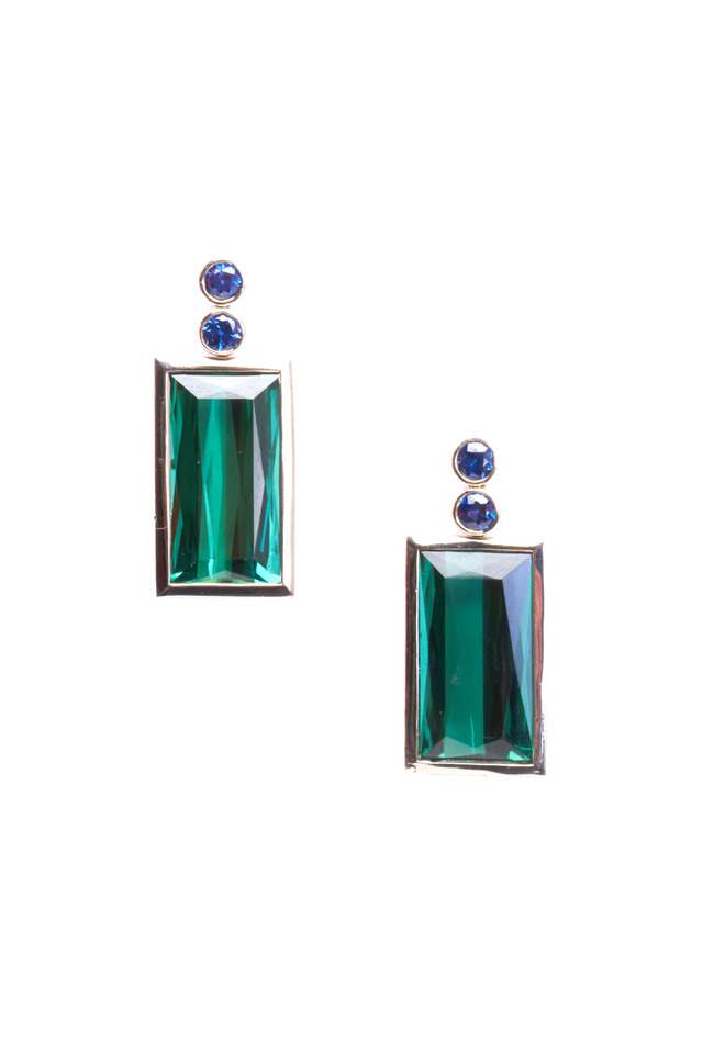 Gold Green Tourmaline Emerald & Sapphire Earrings