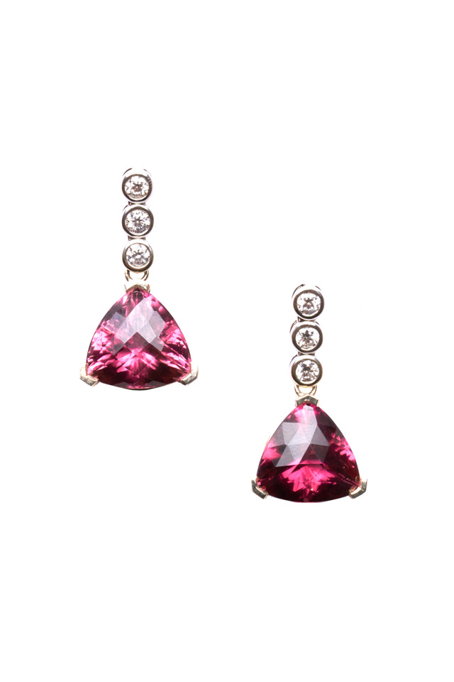 White Gold Trillion-Cut Rubelite Diamond Earrings