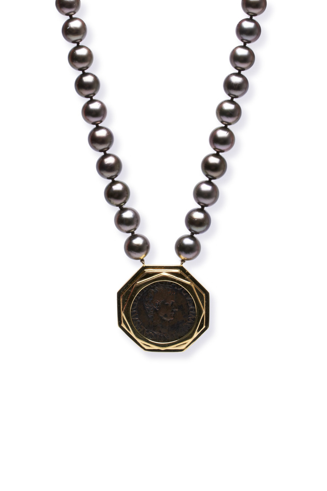 Gold Roman Coin Dark Chocolate Pearl Necklace