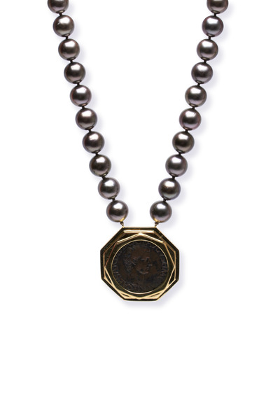 Frank Ancona - Gold Roman Coin Dark Chocolate Pearl Necklace